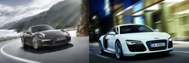 Porsche 911 Carrera 4S vs. Audi R8 V8 Quattro. Cine castiga?